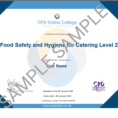 Food hygiene for catering PDF certificate