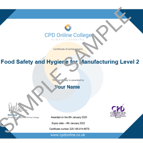 Food Safety for Manufacturing PDF Certificate