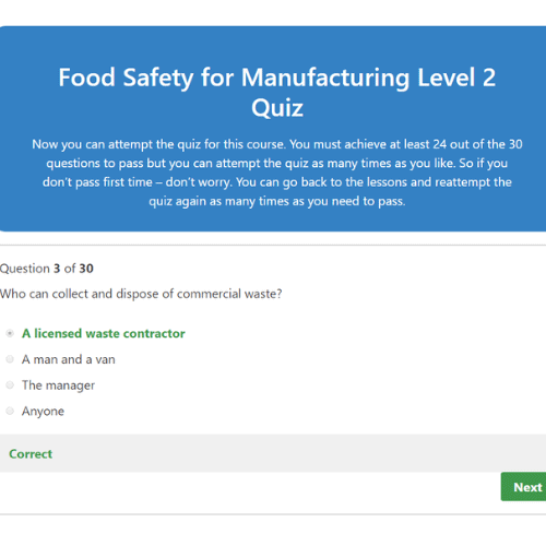 Food Safety for Manufacturing Quiz Question