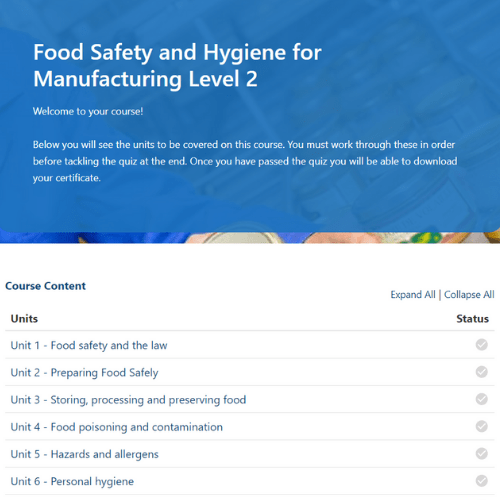 Food Safety for Manufacturing Unit page