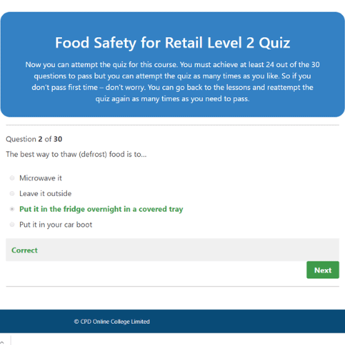 Food Safety for Retail Quiz Question
