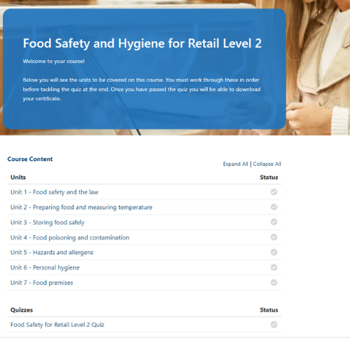 Food Safety for Retail Unit page
