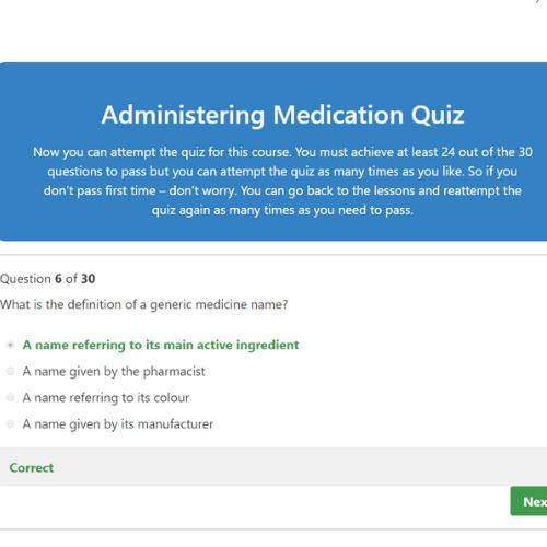 Administering Medication Quiz Question