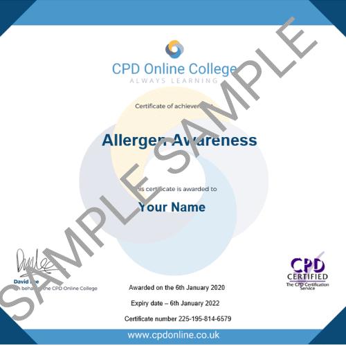 Allergen Awareness Certificate