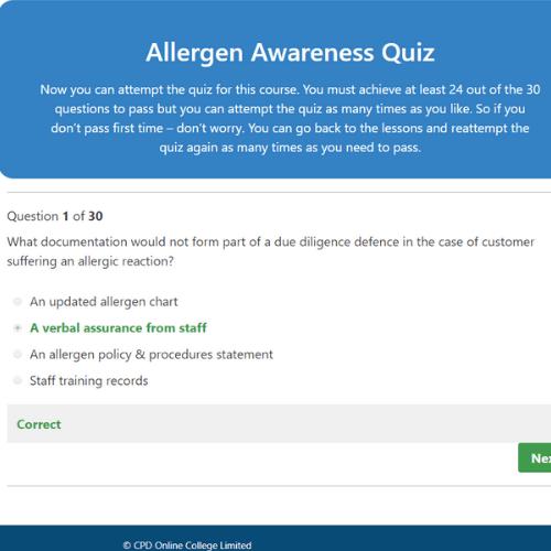 Allergen Awareness Quiz question