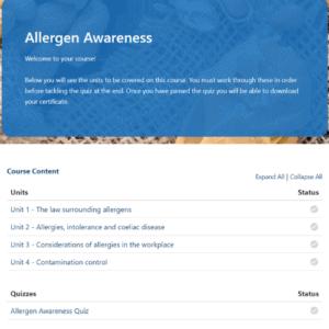 Allergen Awareness Unit page