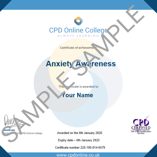 Anxiety Awareness PDF Certificate