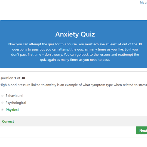Anxiety Awareness Quiz Question