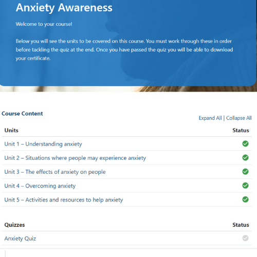 Anxiety Awareness Units Slide