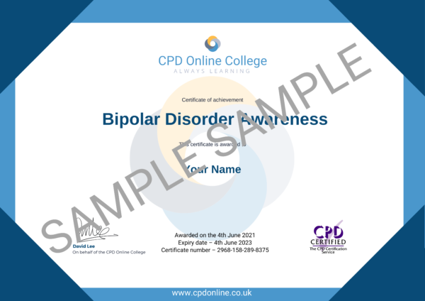 Bipolar Disorder Awareness CPD Certificate