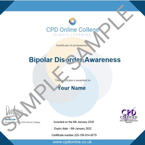 Bipolar Disorder Awareness PDF Certificate