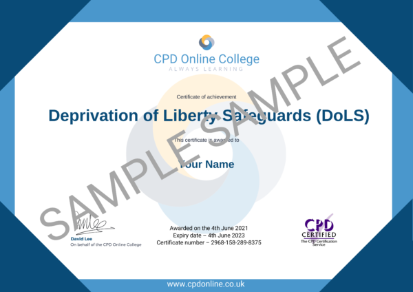 Deprivation of Liberty Safeguards (DoLS) CPD Certificate