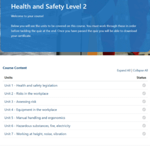 Health and Safety Unit 2 Units Slide
