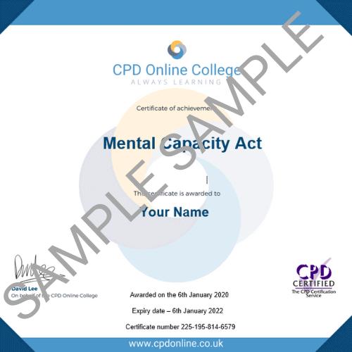 Mental Capacity Act PDF Certificate