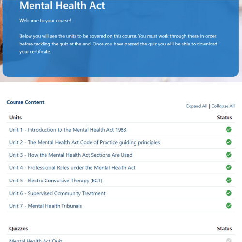 Mental Health Act Units Slide