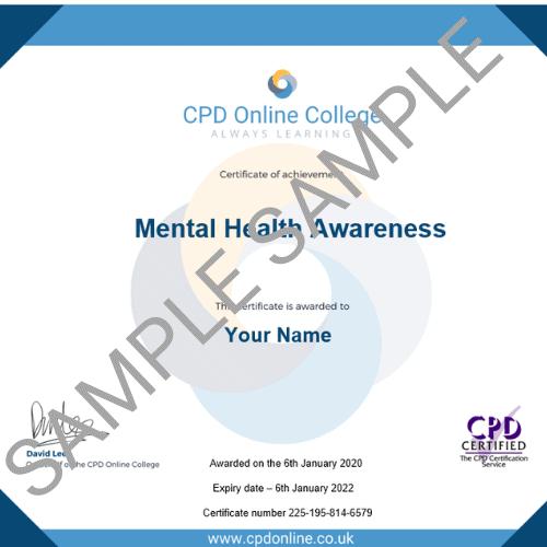 Mental health Awareness PDF Certificate