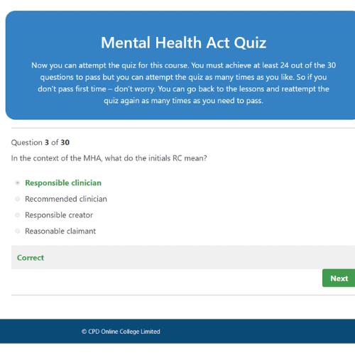 Mental Health Act Quiz Question