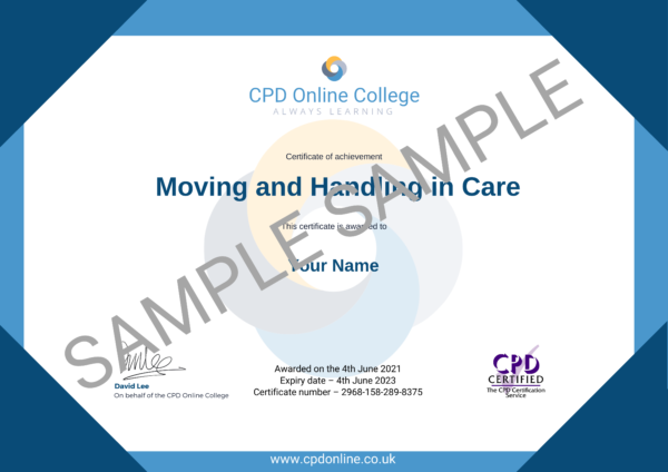 Moving and Handling in Care CPD Certificate