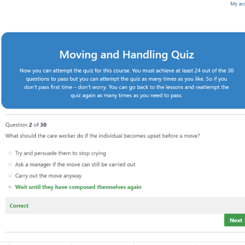 Moving and Handling In Care Quiz Question
