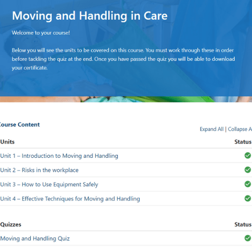 Moving and handling In Care Unit Slide