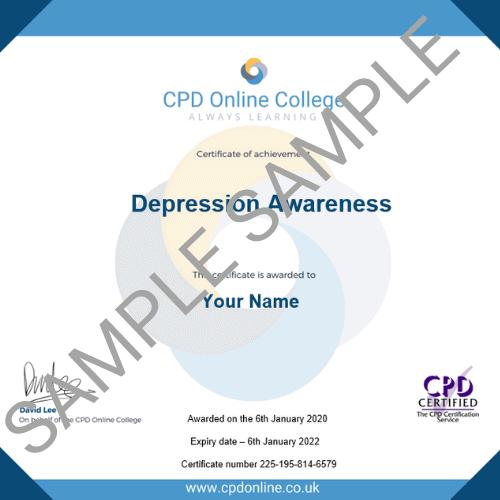 Depression Awareness PDF Certificate