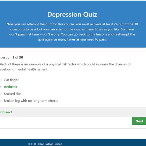 Depression Awareness Quiz Question