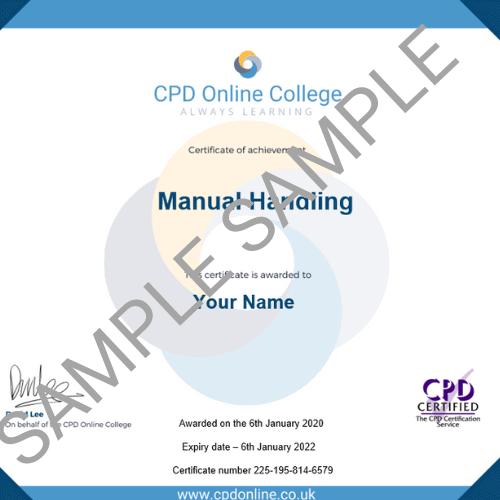 Manual Handling PDF Certificate