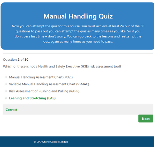 Manual Handling Quiz Question