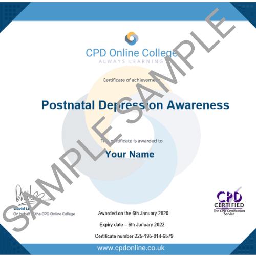 Postnatal Depression Awareness PDF Certificate