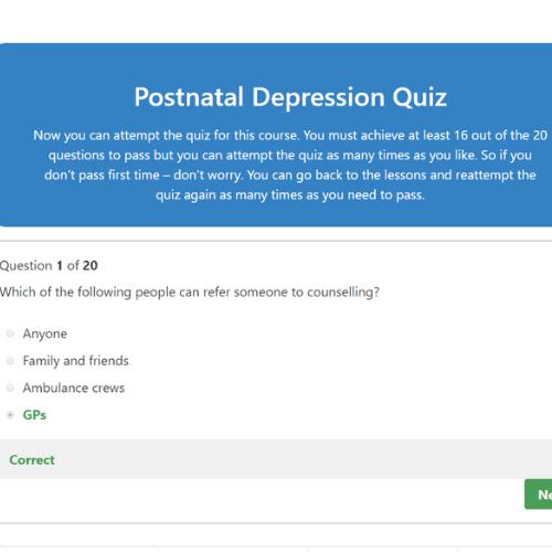 Postnatal Depression Awareness Quiz Question