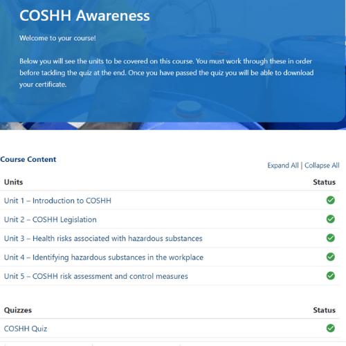 COSHH Unit Page