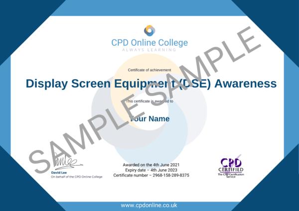 Display Screen Equipment (DSE) Awareness CPD Certificate