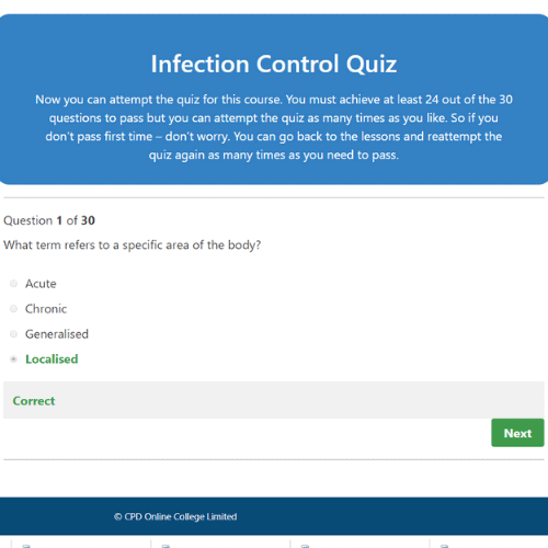 Infection Control Quiz Question