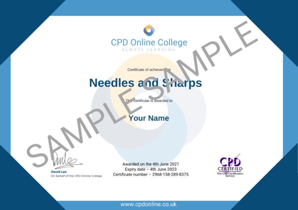 Needles and Sharps CPD Certificate