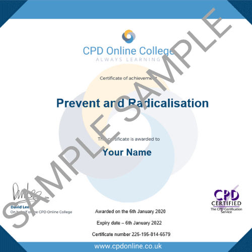 Prevent and Radicalisation PDF Certificate