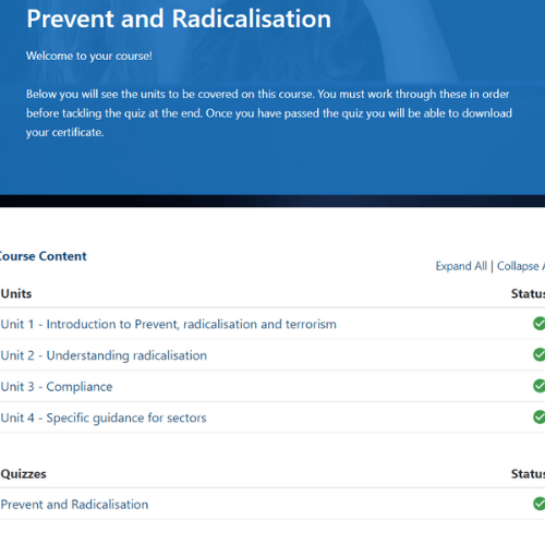 Prevent and Radicalisation Units Slide