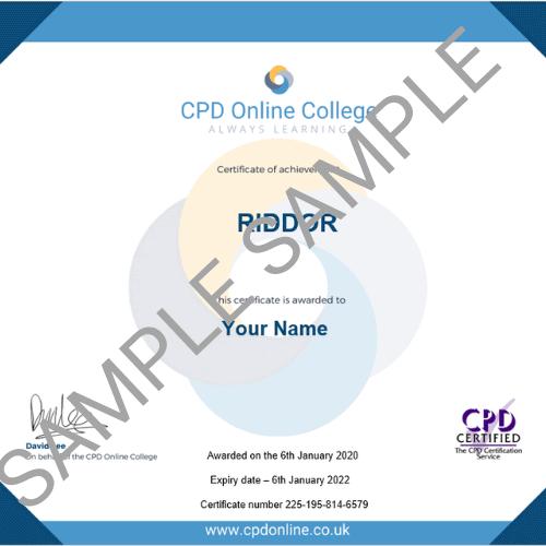 RIDDOR PDF Certificate