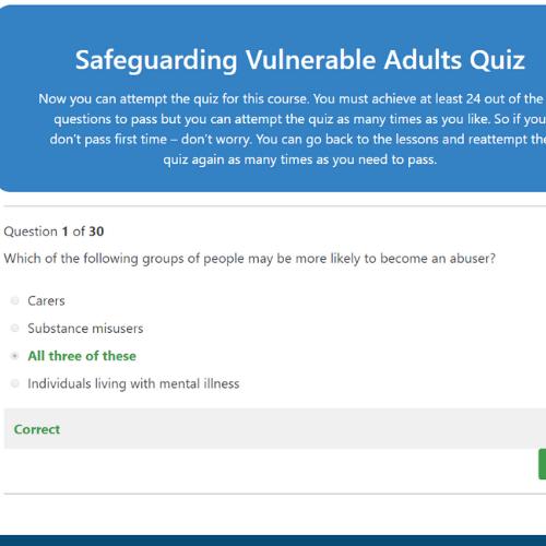 Safeguarding Vulnerable Adults Quiz Question