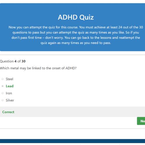 ADHD Awareness Quiz Question