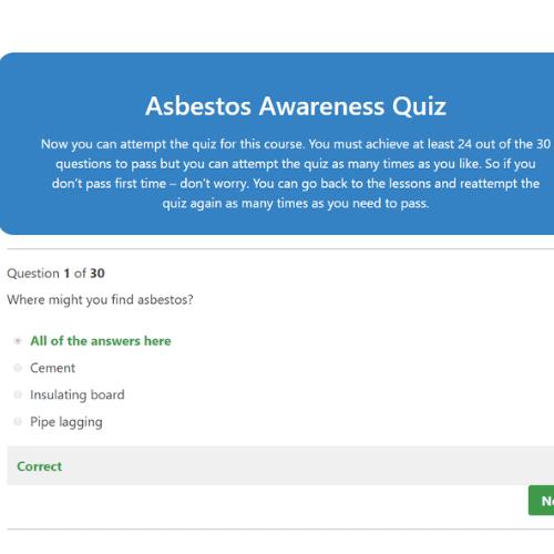 Asbestos Awareness Quiz Question