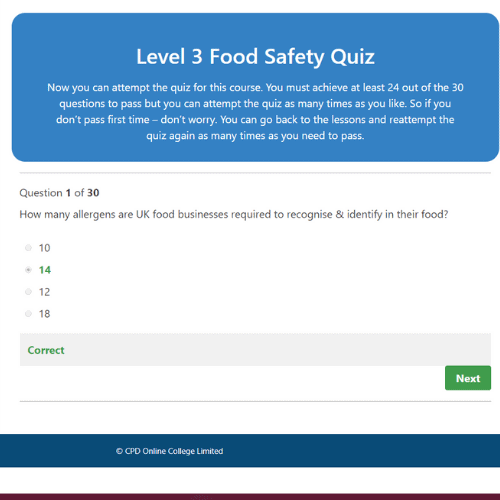 Food Safety for Catering Level 3 Quiz Question