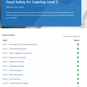 Food Safety for Catering Level 3 Unit page