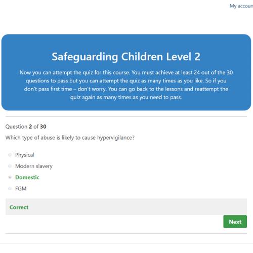 Safeguarding Children Level 2 Quiz Question