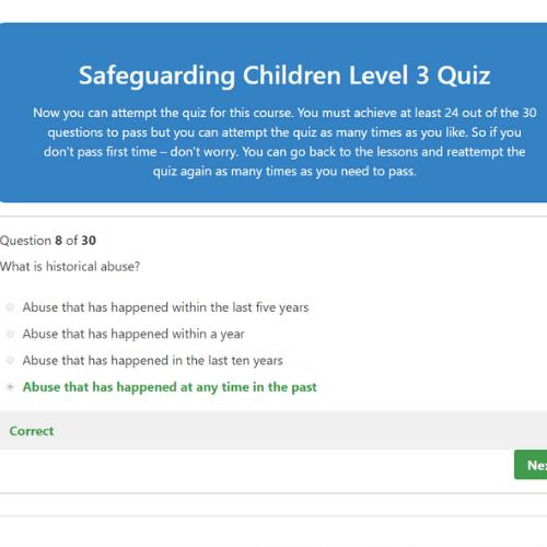 Safeguarding Children Level 3 Quiz Question
