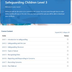 Safeguarding Children Level 3 Units Slide