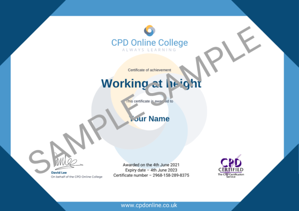Working at height CPD Certificate
