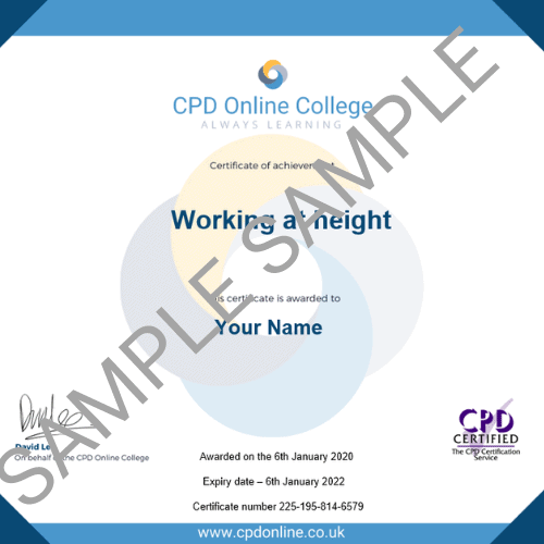 Working at height PDF Certificate