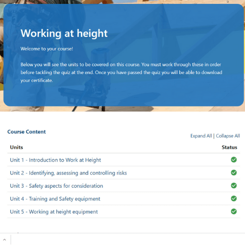 Working at height unit page