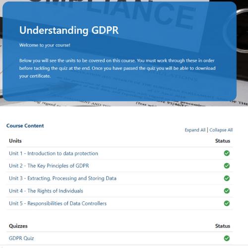 Understanding GDPR unit page