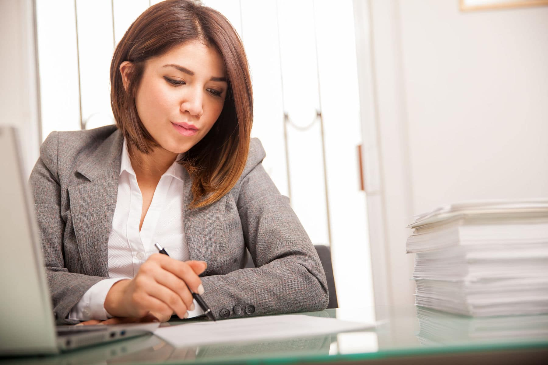 Woman at work feeling stressed